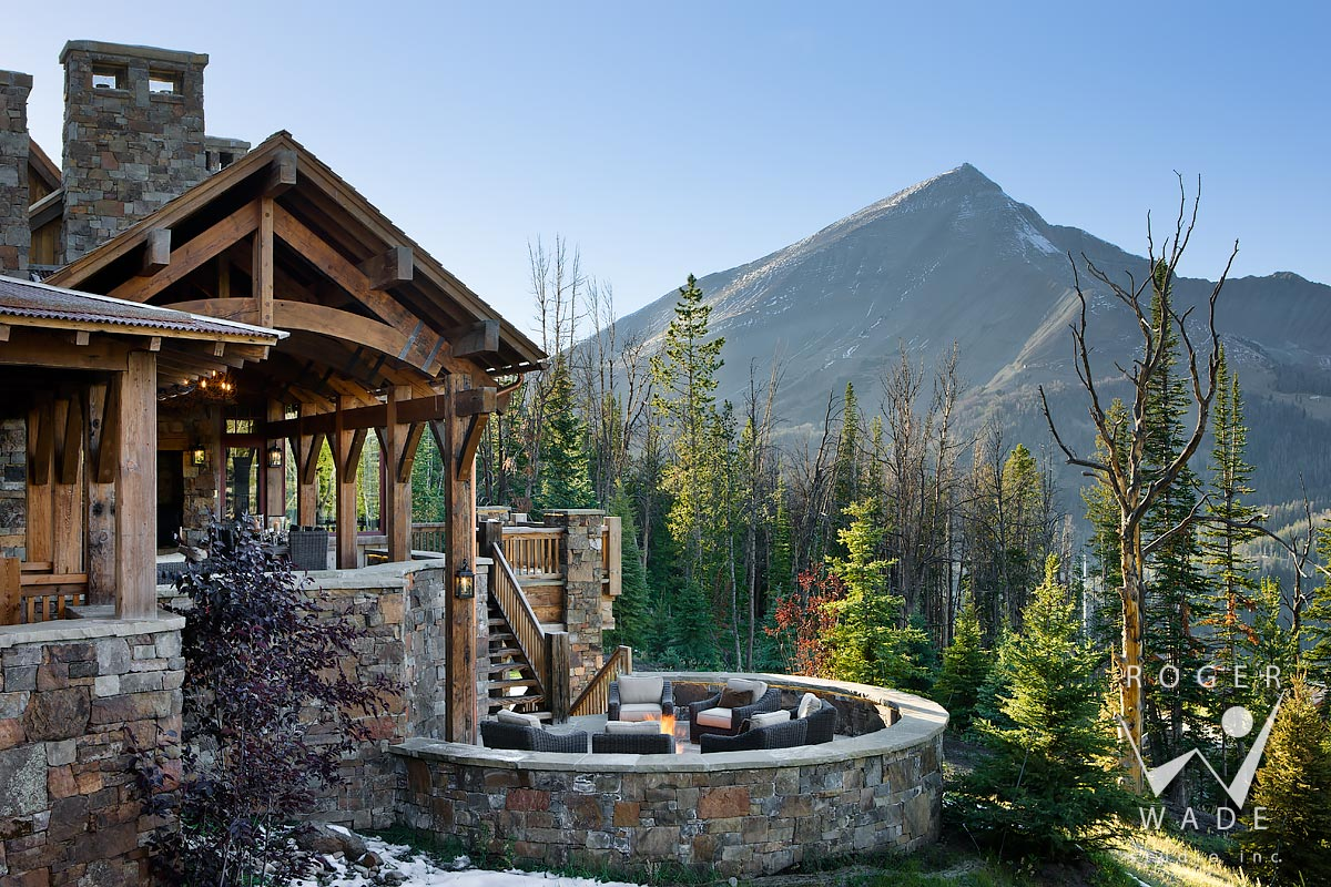 Example of Timber frame home porch design