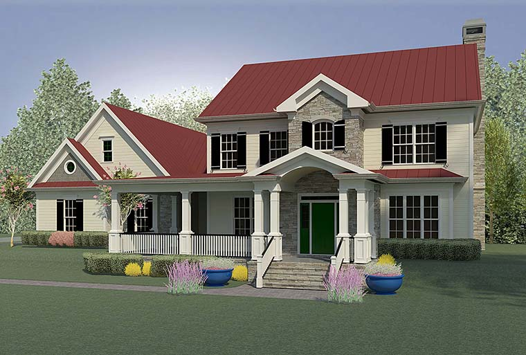 Beautiful country home with spacious porch - houseplan