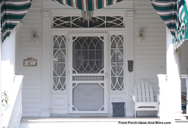 white front door and transom