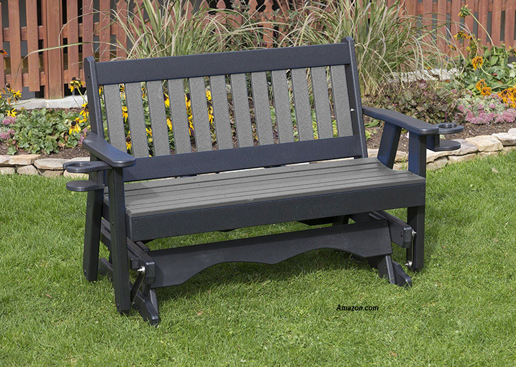grey POLY lumber Mission Porch glider with cupholder