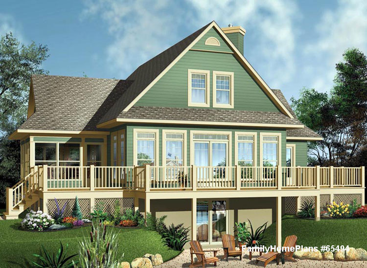 beach house plan with deck and screened veranda