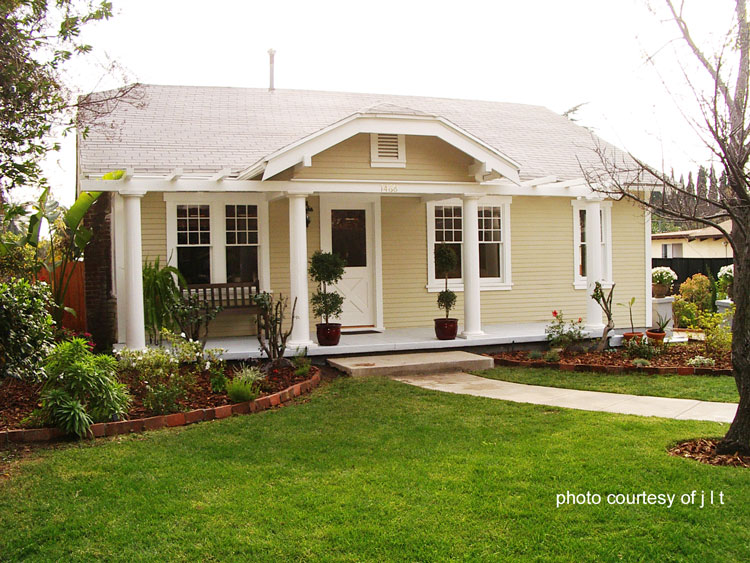 craftsman bungalow with both hip and pergola roofs