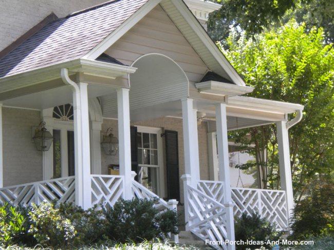 diagonal wood railings on front porch