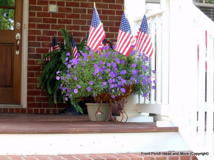 patriotic flags and flowers