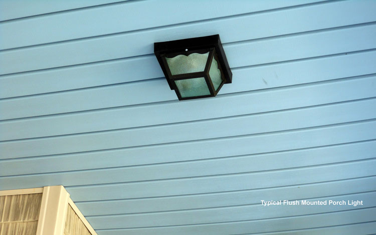 typical flush mounted ceiling light on front porch
