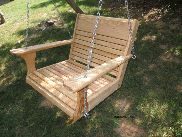 400 pound capacity large adult wood chair swing in yard