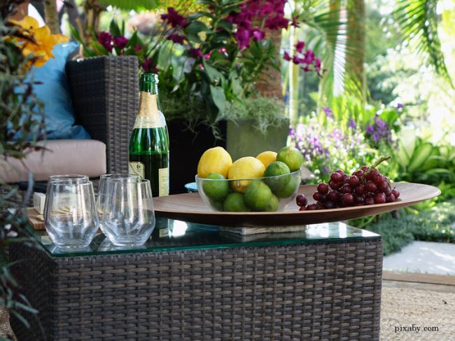 Tropical outdoor bar with fruits