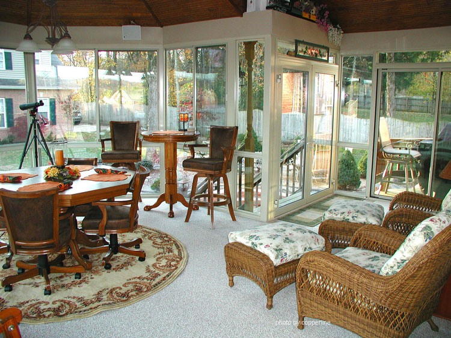 gazebo style sunroom design with beautiful flooring