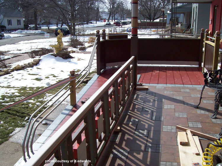wheelchair ramp with steel railings