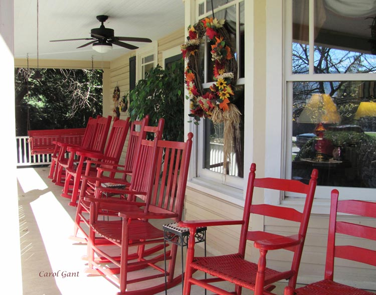 Porch with red rockers
