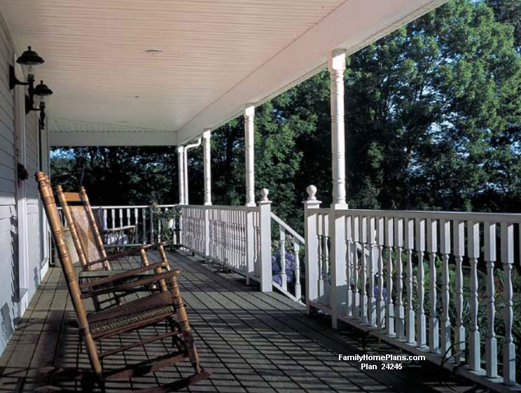 Front porch built from Family Home Plans #24245