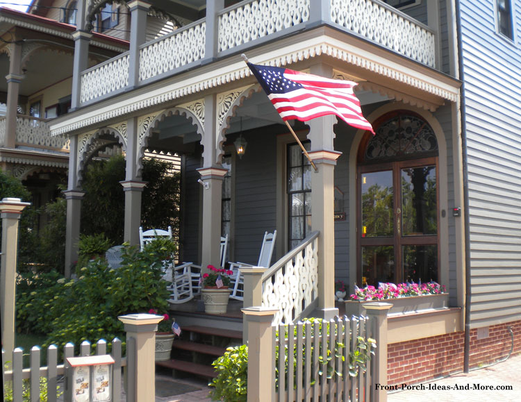 Victorian Front Porch with American Flag in Cape May NJ