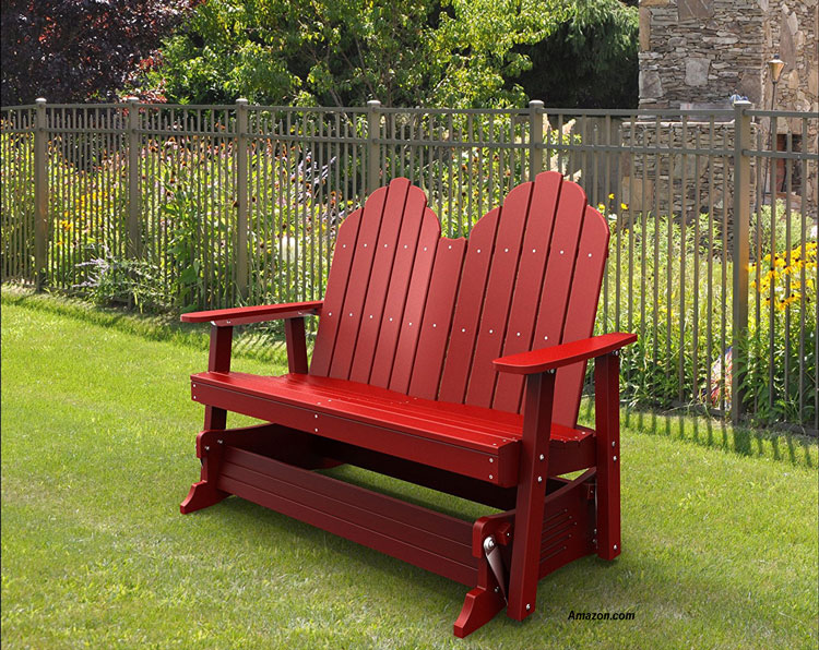 Malibu plastic recycled red porch glider on lawn