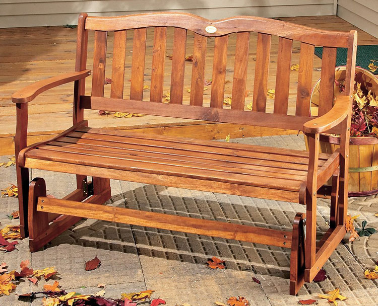 wood porch glider