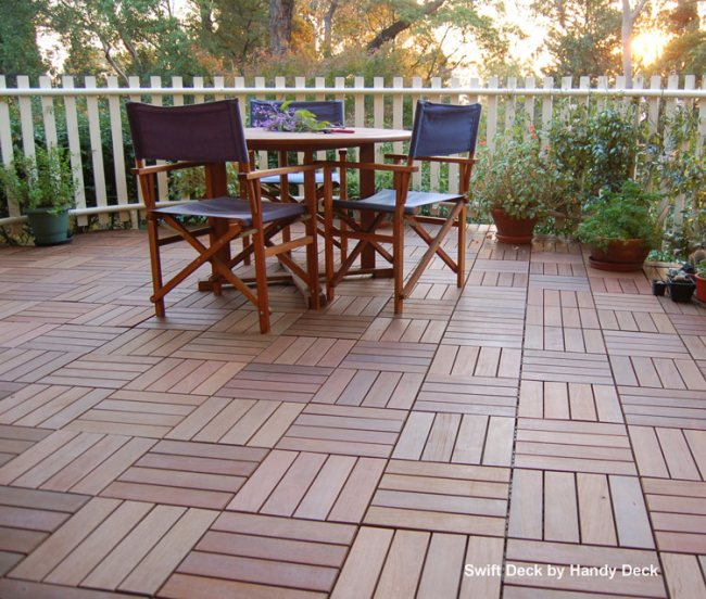 Interlocking deck tiles with beautiful outdoor deck furniture from Handy Deck