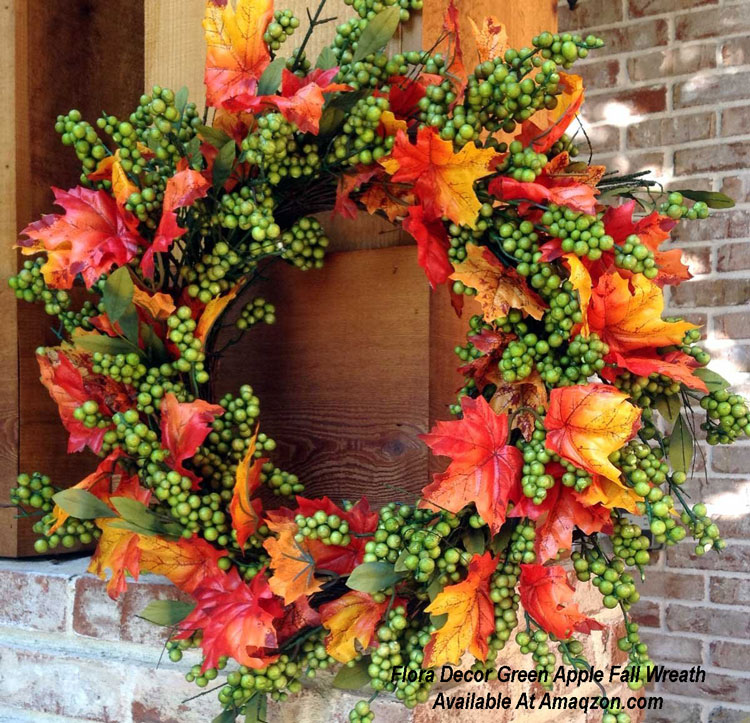 Flora Decor Green Apple Fall Wreath from Amazon.com