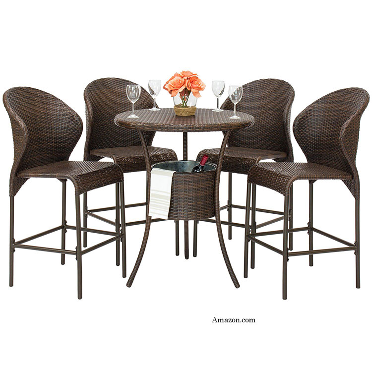 5 piece wicker bistro table