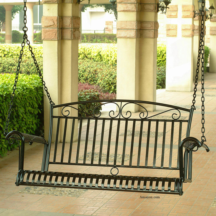 black metal porch swing on front porch at Amazon