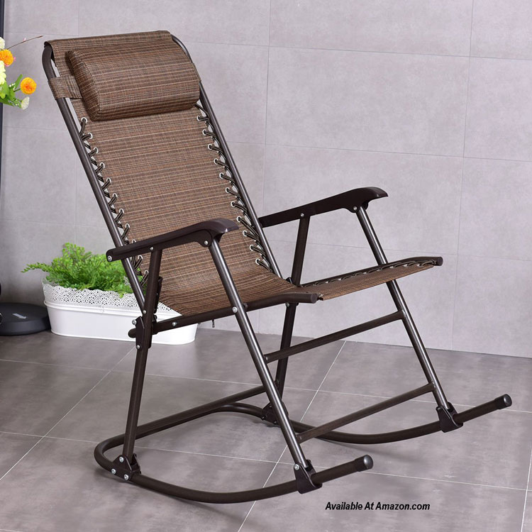 goplus folding rocking chair in tan on patio available at Amazon.com