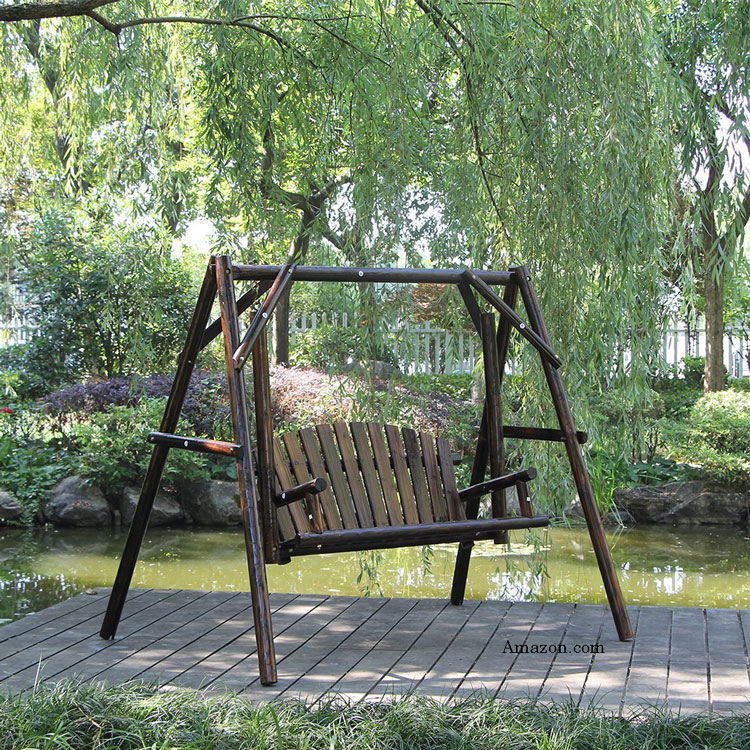 Wooden Garden Swing on stand from Amazon.com