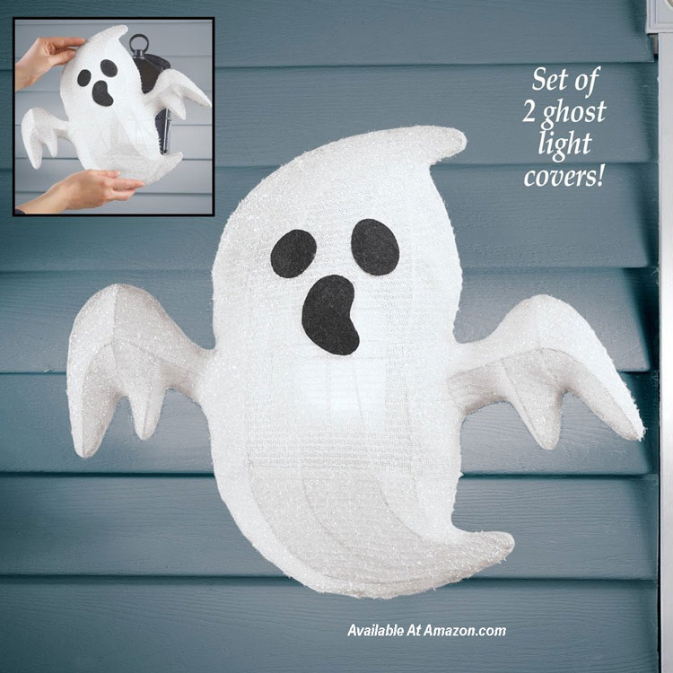 ghost porch light covers for Halloween