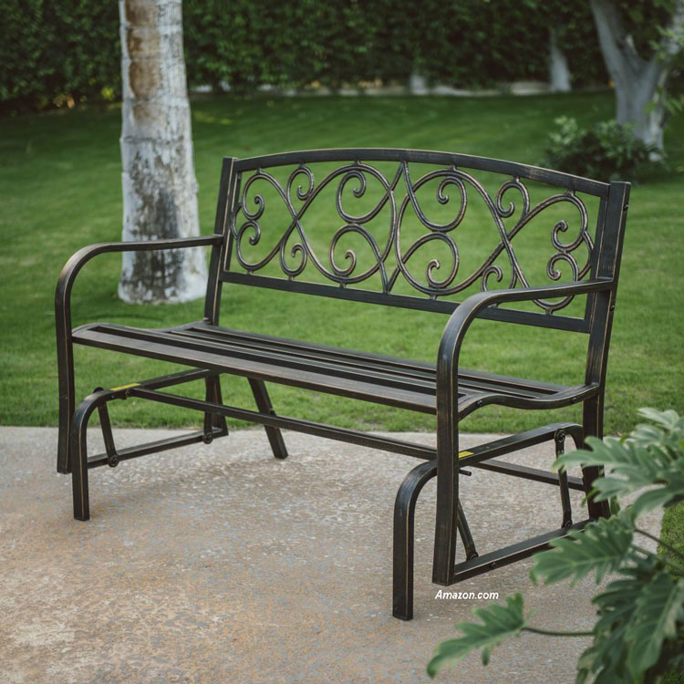 black four foot metal porch glider from Amazon