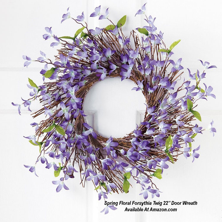 Spring Floral Forsythia Twig 22 Inch Door Wreath from Amazon.com