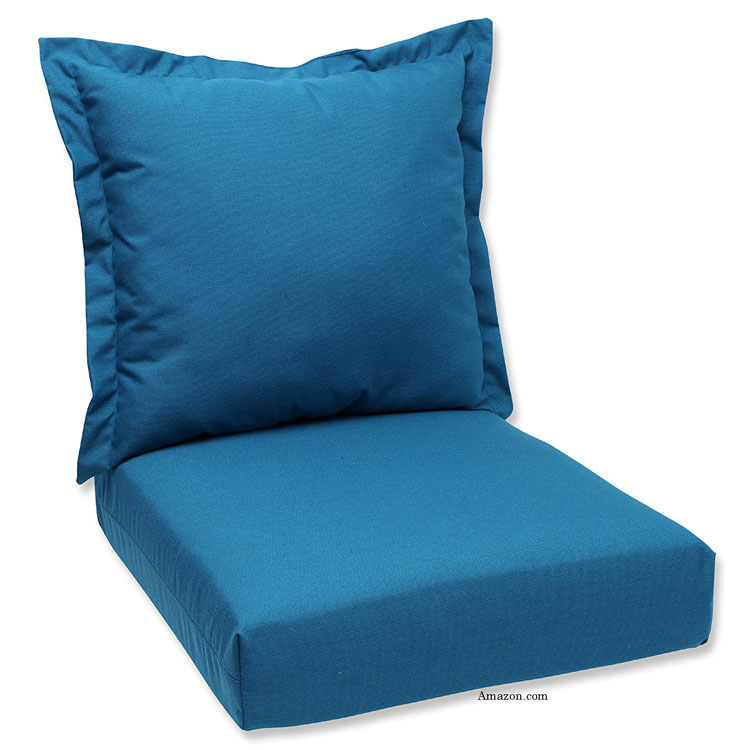 blue Sunbrella® cushion and pillow set from Amazon.com