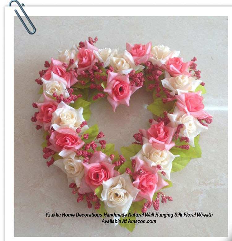 Yzakka Home Decorations Handmade Natural Wall Hanging Silk Floral Wreath from Amazon.com