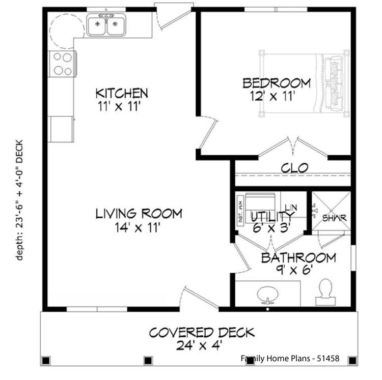 familyhomeplans.com floor plan 51458 with front porch