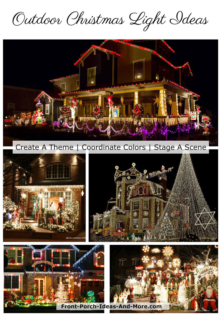 collage of Christmas outdoor lights
