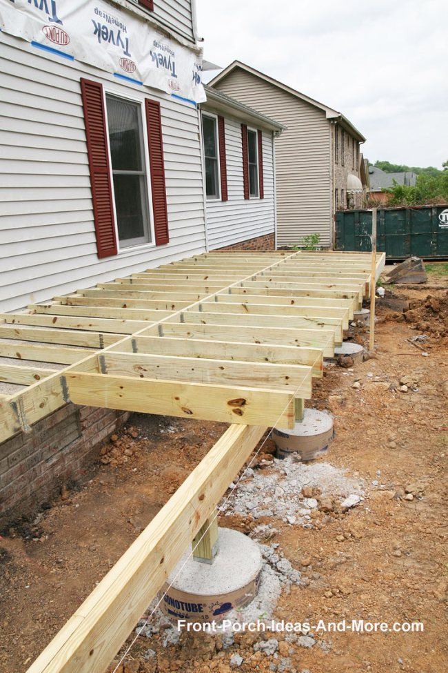 Porch foundations porch repairs porch footing for How much does it cost to have a foundation poured