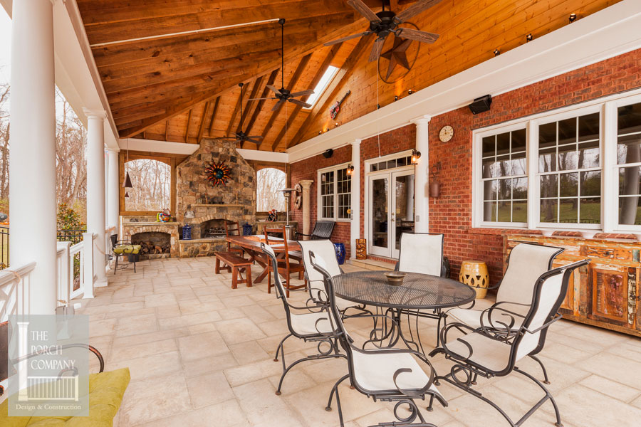beautiful cathedral ceiling on porch by the Porch Company