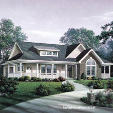 small house plan with nice front porch