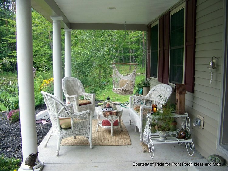 beautiful wicker furniture on porch