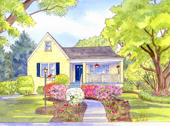 Summer cottage painted by artist Leisa Collins