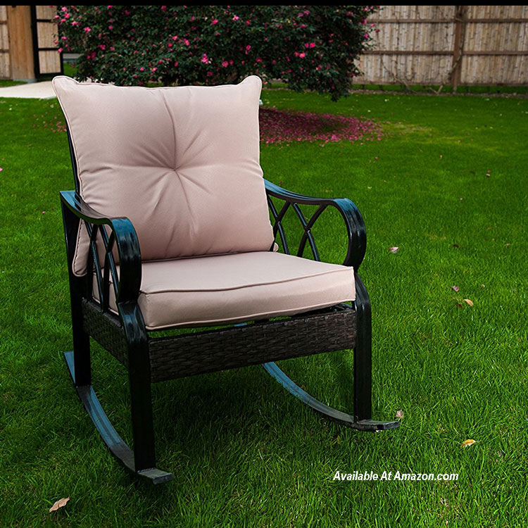 aluminum rocking chair in yard available at Amazon.com