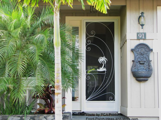 custom designed front door aluminum screen door with tropical insert