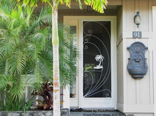 Custom Designed Front Door Aluminum Screen Door With Tropical Insert