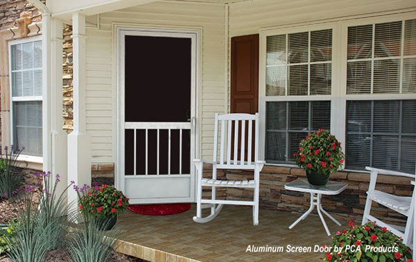 custom aluminum screen door on front porch with rocking chairs