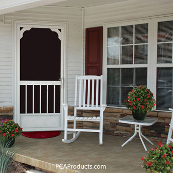 an aluminum exterior screen door