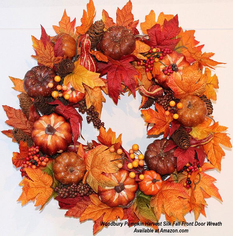 Woodbury Pumpkin Harvest Silk Fall Front Door Wreath from Amazon.com