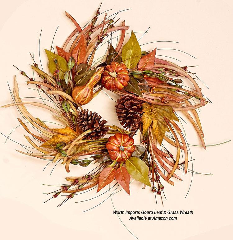 Worth Imports Gourd Leaf & Grass Wreath from Amazon.com