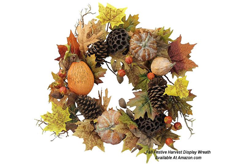Fall Festive Harvest Display Wreath from Amazon.com