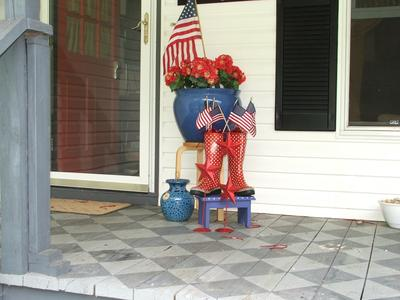 Beth's Patriotic porch decorations - checkerboard porch floor
