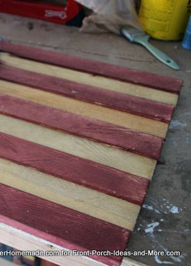 alternating red and stained flag slats