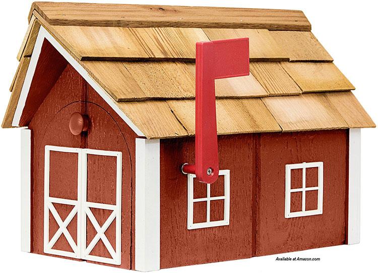 Amish cedar barn mailbox from amazon.com