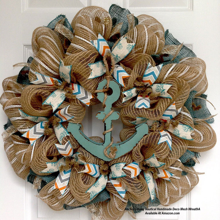 Anchors Away Nautical Handmade Deco Mesh Wreath from Amazon.com