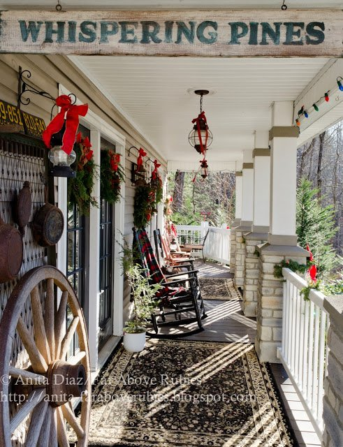 anitas porch is lovingly known as whispering pines - Country Christmas Decorations For Front Porch