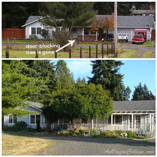 Overview of Jami's home before and after the remodel of her ranch style house